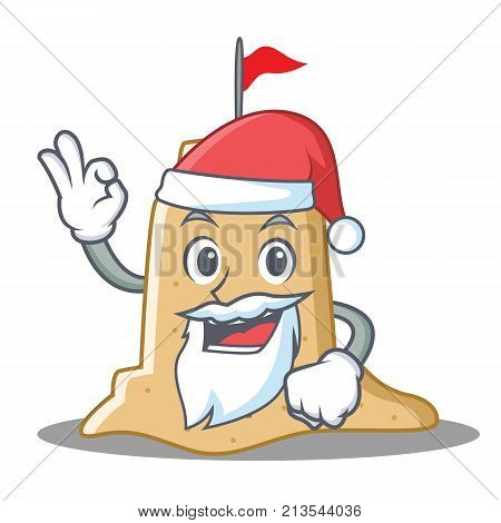 Santa sandcastle character cartoon style vector illustration