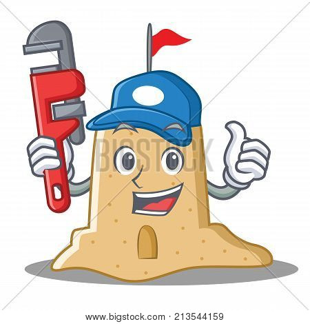 Plumber sandcastle character cartoon style vector illustration
