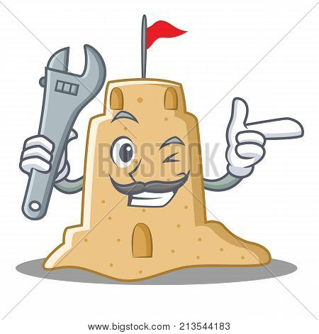 Mechanic sandcastle character cartoon style vector illustration