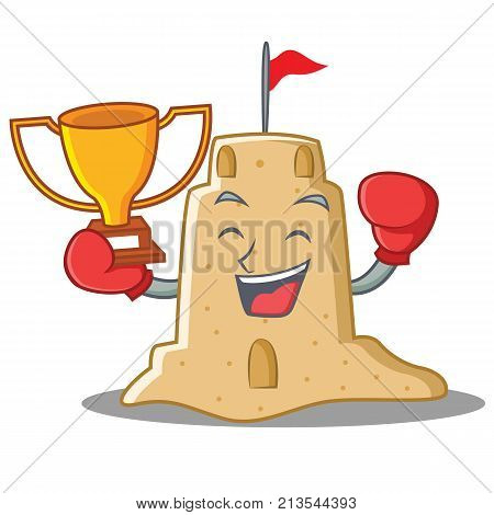 Boxing winner sandcastle character cartoon style vector illustration