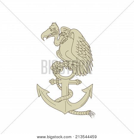 Cartoon style illustration of a buzzard or turkey vulture perching on Navy anchor with rope on isolated background.