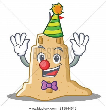 Clown sandcastle character cartoon style vector illustration
