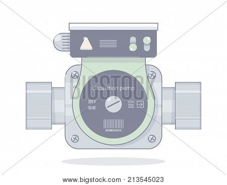 Circulation pump. Illustrations for the online store of plumbing. Isolated on white background. Realistic cartoon style.