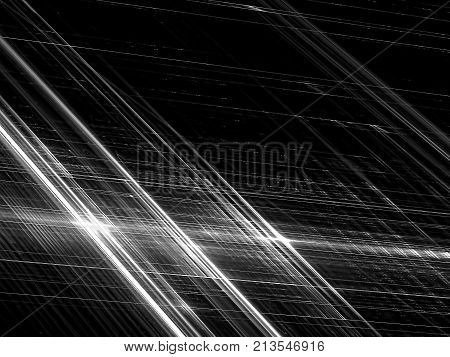 Crayscale striped technology or sci-fi background - abstract computer-generated image. Fractal art: diagonal glowind in dark chaos stripes. Backdrop for covers, web design, banners.
