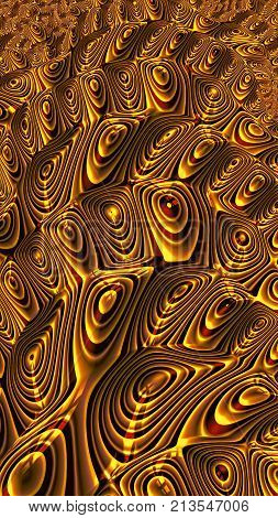 Gnarled concentric circles. Fractal golden background - abstract computer-generated image. Digital art for backdrops, covers, posters.