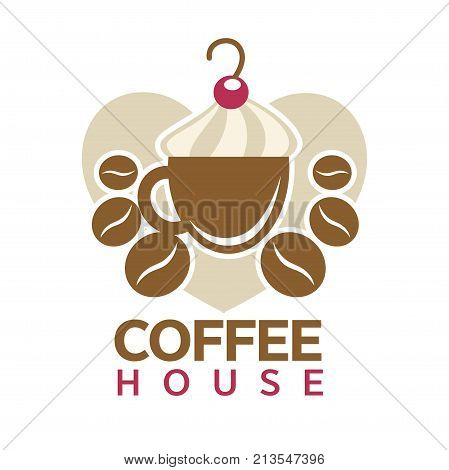 Coffee house logo template of coffee cup with steam, beans and heart. Vector isolated icon of hot steamy americano, espresso or cappuccino mug for coffeeshop cafeteria or cafe sign design