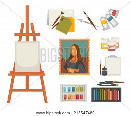 Artist painting tools and artistic materials icons set. Vector color oil, gouache or watercolor paint, brush or pencil and masterpiece picture drawing, pastel and canvas on easel