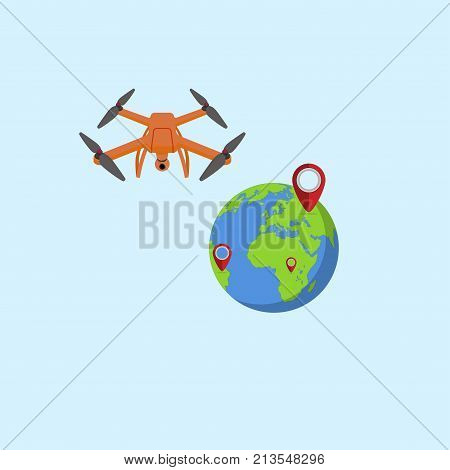 The drone near the globe and the lighthouses indicating the location of the position. Flat design. Vector Illustration