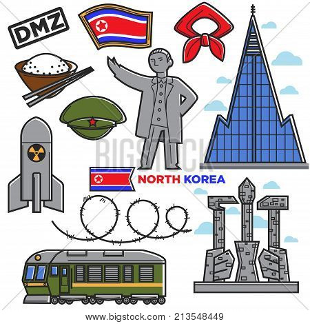 North Korea travel famous landmark and culture tourist attraction sightseeing. Korean flag, Communist leader statue monument, weapon and borderline or Pyongyang food and architecture. Vector icons set