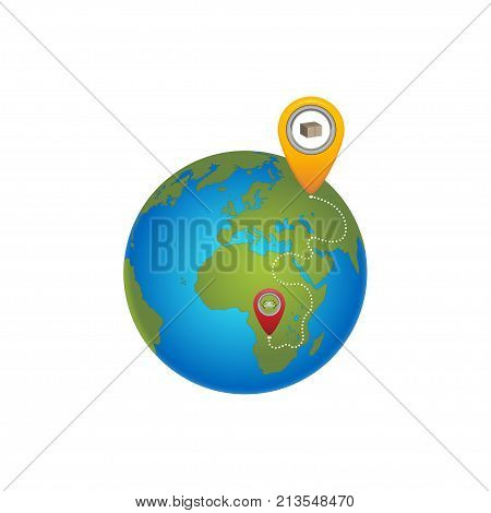 The globe with pointers of location and delivery. Dron delivers the parcel. Vector Illustration