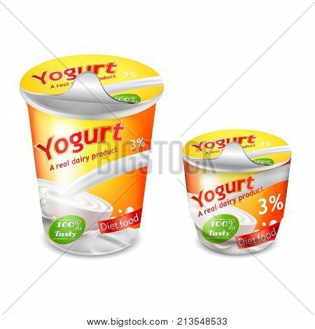 Vector 3D realistic packing for yogurt isolated on white background. Packing template, large and small plastic cup for yogurt with yellow-orange branded design