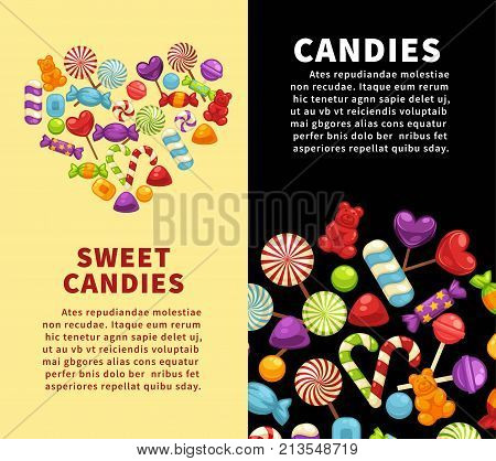 Candies and caramel sweets poster template for confectionery or candy shop. Vector heart of marmalade bears, lollipops or sweetmeats and toffee comfits, candy canes for confectionery background