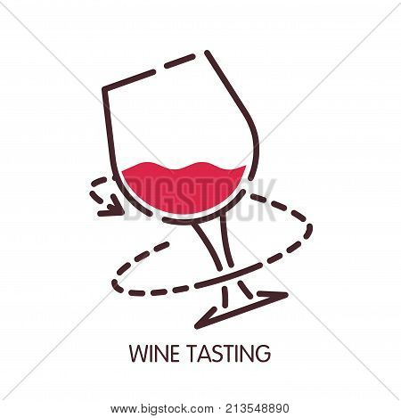 Wine glass icon for wine tasting or sommelier degustation infographics design element. Vector isolated symbol or red wineglass and glass rotation direction line and arrow for winemaking or winery