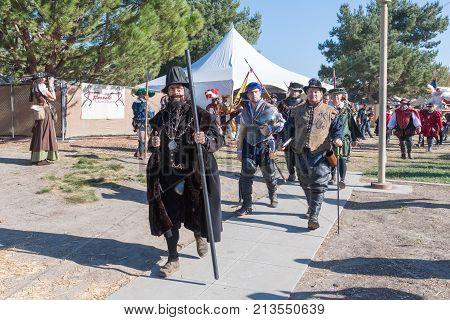 Participants Wearing Typical Clothes During  Nottingham Festival Renaissance Faire.