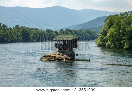 Lonely house on the Drina river in Bajina Basta, Serbia