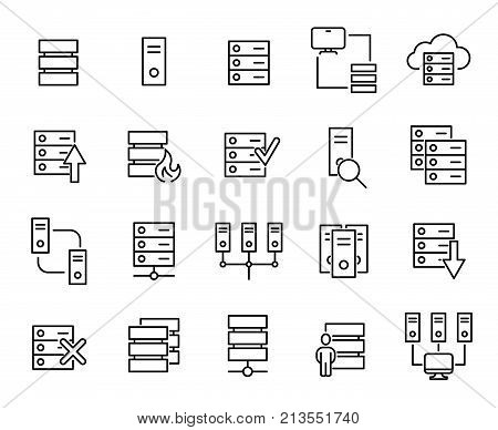 Modern outline style server icons collection. Premium quality symbols and sign web logo collection. Pack modern infographic logo and pictogram. Simple database pictograms.