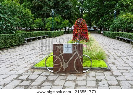 Bicycle Memorial In Urban Esplanade Park In Riga