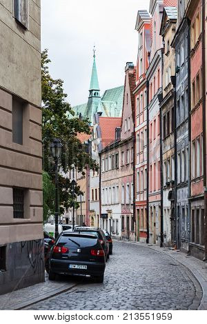 Narrow Street In Wroclaw City Historical Center