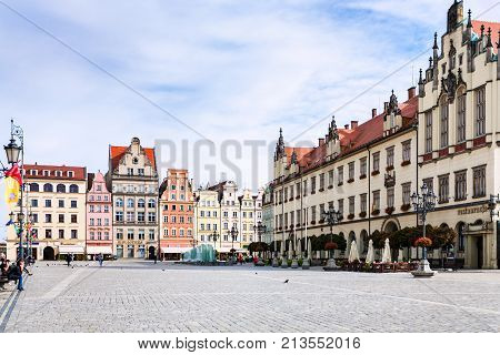 Market Square (rynek) In Wroclaw City In Autumn