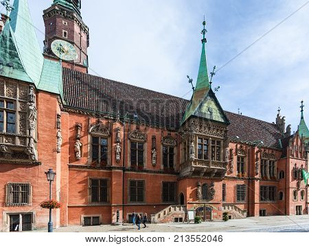 Side Of Old Town Hall On Market Square In Wroclaw