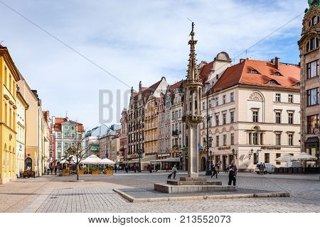 Column On Market Square (rynek) In Wroclaw City