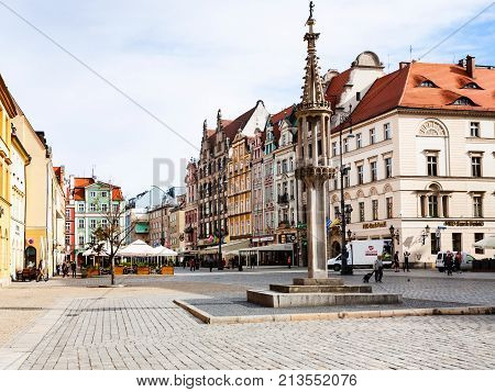 Monument On Market Square (rynek) In Wroclaw