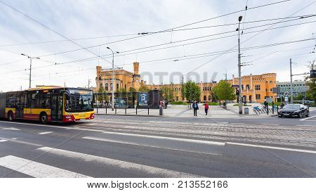 Street And Railway Station In Wroclaw City