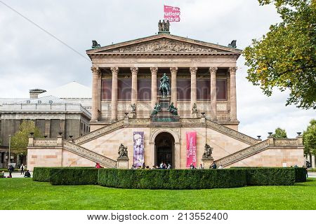Tourists Near Entrance To Alte Nationalgalerie