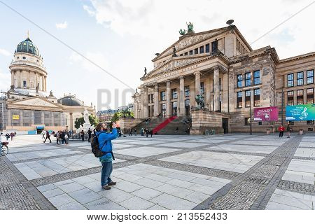 Tourists Near Concert Hall In Berlin