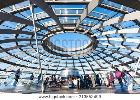 Visitors On Excursion In Reichstag Dome In Berlin