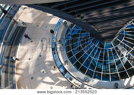 Tourists Inside Of Reichstag Dome In Berlin