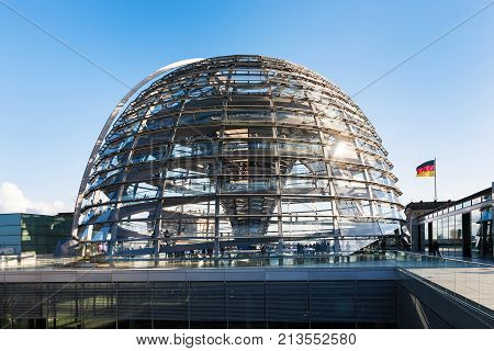 Glass Dome On Roof Of Reichstag Palace In Berlin