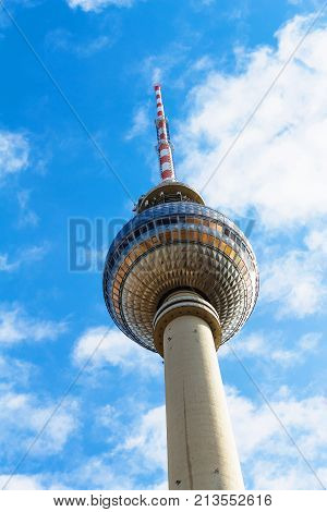 Spire Of Tv Tower (fernsehturm) In Berlin