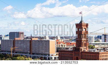 View Of City With Red City Hall From Berliner Dom