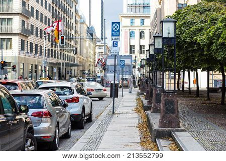 Car Traffic On Charlottenstrasse Street In Berlin