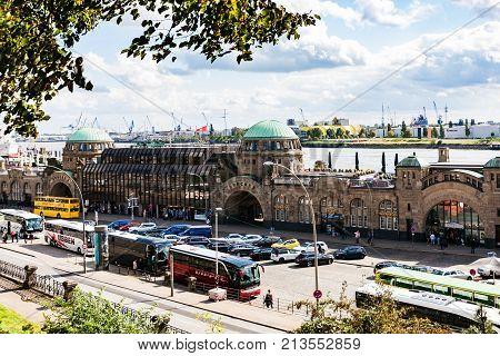 View Of St Pauli Landungsbrucken In Hamburg Port