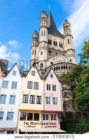 Old Houses On Fischmarkt Square In Cologne City