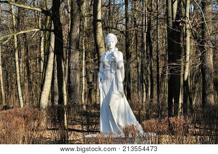 Bila Tserkva, Ukraine - 17 February 2016. Sculpture of Countess Alexandra Branitskaya, founder of the park
