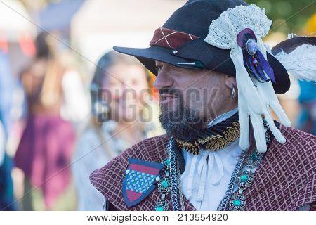 Participant Wearing Typical Clothes During  Nottingham Festival Renaissance Faire.