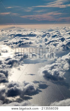 A view of the earth with clouds and the surface of the stratosphere