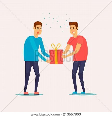 Discounts, Black Friday, Cyber Monday. Two guys are fighting for the last turn. Flat design vector illustration.