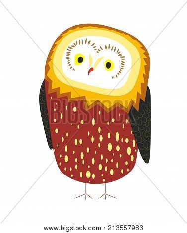 Cute owl with small dots on thick plumage, tiny red beak, bright yellow eyes and black wings isolated cartoon flat vector illustration on white background. Wild forest bird that hunts at night.