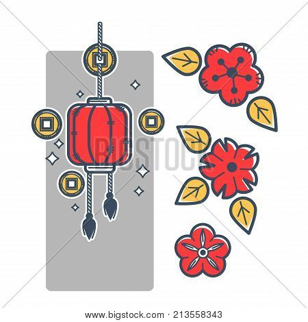 Chinese paper lantern with tassels, gold coins for luck with square hole in middle and wild red flowers buds with yellow leaves isolated cartoon flat vector illustration on white background.