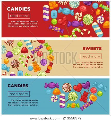 Delicious caramel candies and sweets promotional Internet posters set with striped lollipops and jelly bears in big colorful heaps vector illustrations. Tasty treats advertisement online banners.