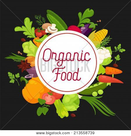 Organic food advertisement banner with fresh products around circle with sign. Harvest grown at farm full of vitamins isolated cartoon vector illustration on black background advertisement banner.