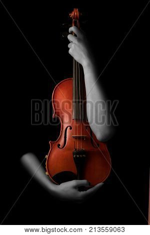 Violin music instrument violinist. Classical player hands. Details of violin playing isolated on black