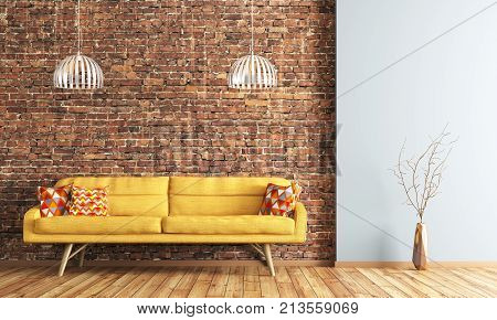 Interior Of Living Room With Sofa Rendering
