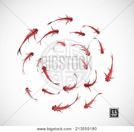 Little red fishes in circle on white background. Traditional oriental ink painting sumi-e, u-sin, go-hua. Contains hieroglyph - double luck. Vector illustration.