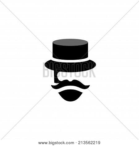 people Retro old mustache vintage style beard gent icons, Barber mister gentleman party black vector silhouette