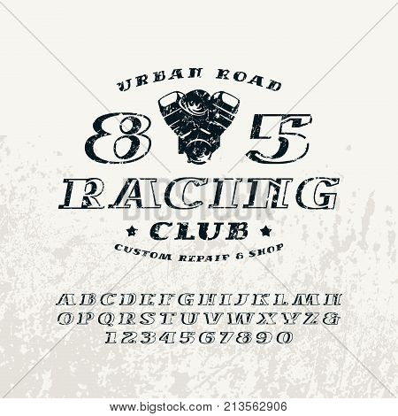 Bulk italic serif font and racing club emblem. Letters and numbers with rough texture for logo and title design. Print on light background